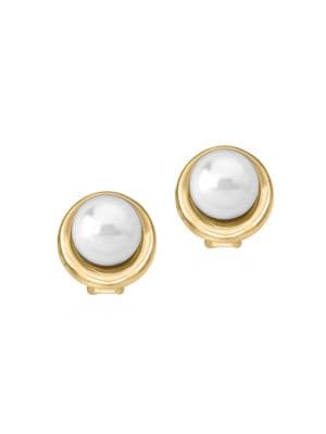 18K Goldplated Sterling Silver & 10MM Organic Man-Made Pearl Button Earrings