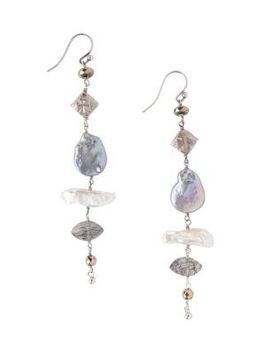 13-14MM Blue Mixed Freshwater Pearl & Semi-Precious Drop Earrings