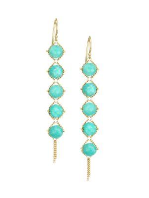 18K Yellow Gold & Amazonite Drop Earrings