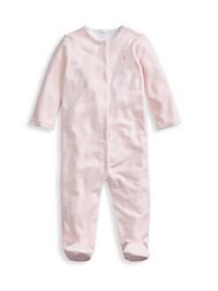 폴로 랄프로렌 여아용 아기 우주복 Polo Ralph Lauren Baby Girls Striped Velour Footie,Pink