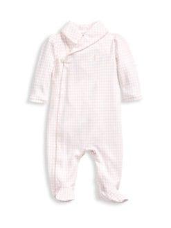 폴로 랄프로렌 여아용 아기 우주복 Polo Ralph Lauren Baby Girls Houndstooth Cotton Footie,White Multi
