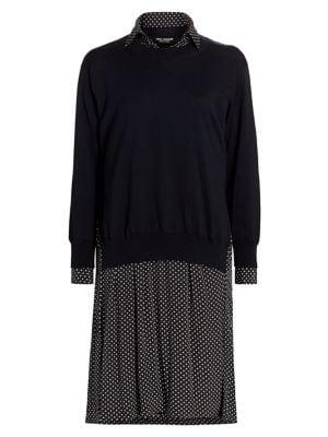 Polka Dot Layered Sweater Dress