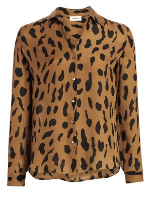 Nina Animal-Print Silk Blouse