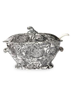 Ralph Lauren x Burleigh Faded Peony 2-Piece Earthware Soup Tureen & Ladle Set