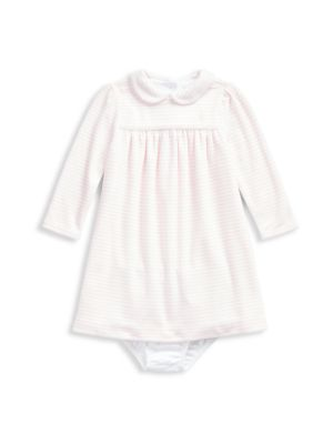 Baby Girl's Two-Piece Striped Cotton Blend Dress & Bloomers Set