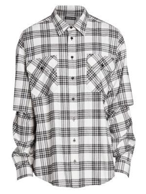 Oversized Double-Sleeve Plaid Shirt