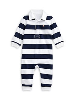 폴로 랄프로렌 남아용 아기 커버올 우주복 Polo Ralph Lauren Baby Boys Striped Cotton Rugby Coveralls