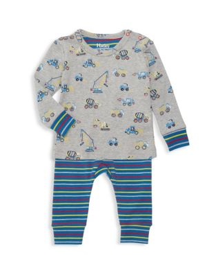 Baby Boy's Crayon Construction 2-Piece Pajama Set