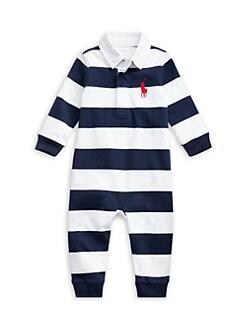 폴로 랄프로렌 남아용 아기 커버올 우주복 Polo Ralph Lauren Baby Boys Striped Rugby Coverall,French Navy
