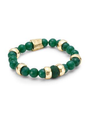 Green Onyx & Raffia Stretch Bracelet