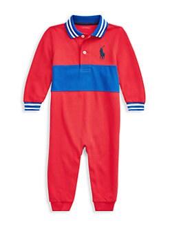 폴로 랄프로렌 남아용 아기 커버올 우주복 Polo Ralph Lauren Baby Boys Cotton Mesh Polo Coveralls,Red
