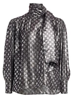 Kelly Lurex Silk & Metallic Tieneck Blouse