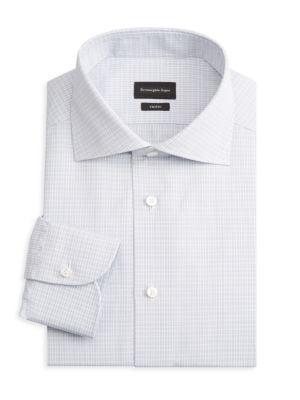 Micro Check Wool Dress Shirt