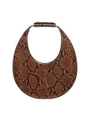 Moon Snakeskin-Embossed Leather Hobo Bag