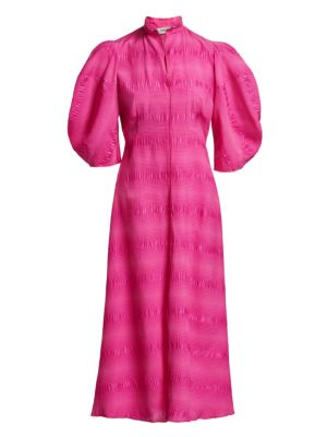 Amplus Puckered Puff-Sleeve Midi Dress