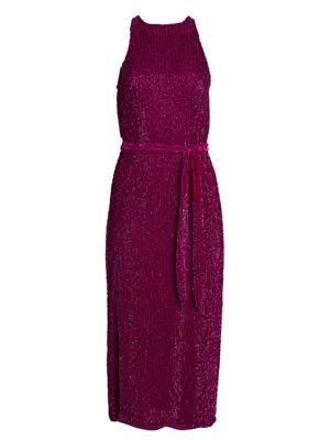 Tilly Sequin Tie-Sash Midi Dress