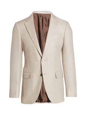 Chevron-Weave Wool Sportcoat