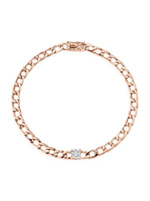 Diamond 18K Rose Gold Plain Chain Bracelet