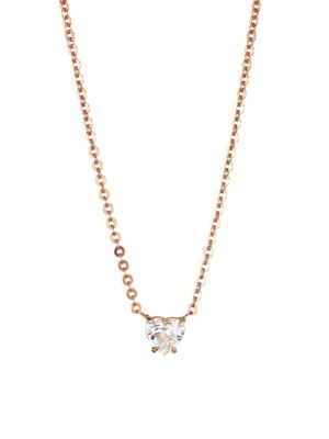 18K Rose Gold & Heart Diamond Solitaire Necklace