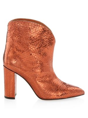 Metallic Snakeskin-Embossed Leather Ankle Boots
