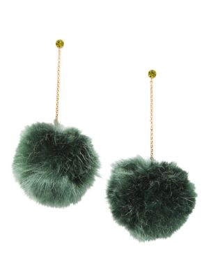 12K Goldplated Chain-Drop Faux-Fur Pom-Pom Earrings