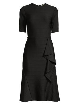 Belva Asymmetric Ruffle Stitch Rib Dress