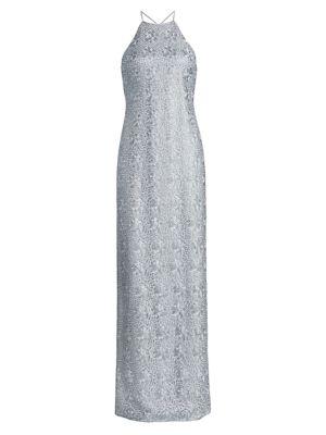 Embroidered Metallic Halterneck Column Gown