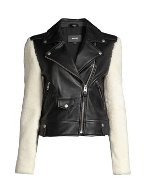 Baya Shearling-Sleeve Leather Moto Jacket