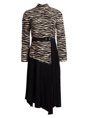 Peyton Tiger-Print Paneled & Pleated Dress