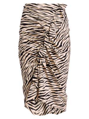 Metz Tiger-Print Stretch Silk Ruffle Skirt