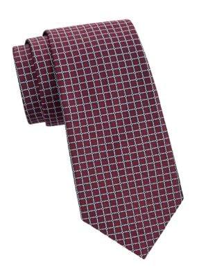 Box-Print Silk Tie