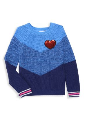 Little Girl's Sequin Heart Colorblock Crewneck Sweater
