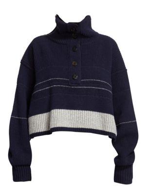 Cropped Turtleneck Wool Sweater