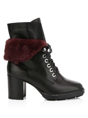 Idris Faux Fur-Trimmed Leather Combat Boots