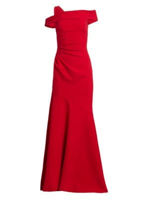One-Shoulder Ruched Crepe Gown