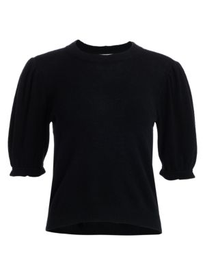 Shirred Sustainable Cashmere Puff-Sleeve Sweater