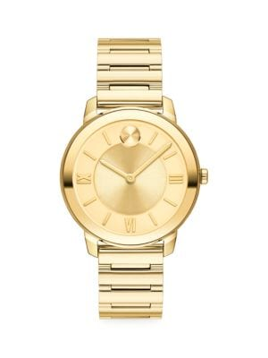Bold Yellow Gold Ion-Plated Stainless Steel Bracelet Watch