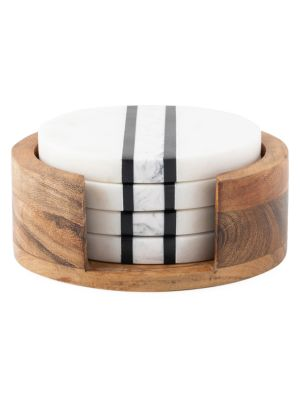 Stonewood Stripe 5-Piece Coaster Set