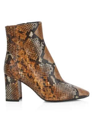 Posey Snakeskin-Embossed Leather Ankle Boots