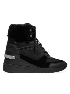 Liv Faux Fur-Lined Mixed-Media Sneaker Wedges