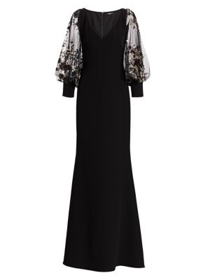Embellished Blouson Sleeve Gown