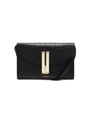 Quebec Croc-Embossed Leather Clutch