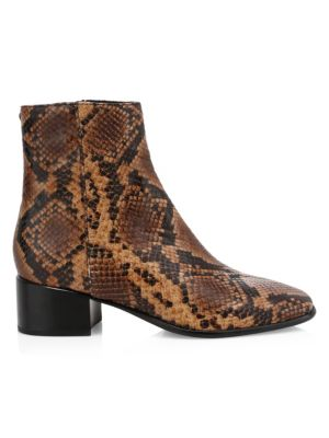 Aslen Snakeskin-Embossed Leather Ankle Boots