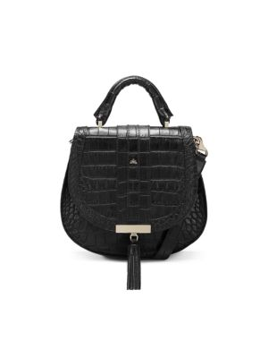 Mini Venice Croc-Embossed Leather Saddle Bag