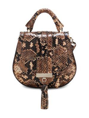 Nano Venice Snakeskin-Embossed Leather Saddle Bag