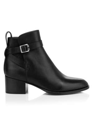 Walker Buckle Leather Ankle Boots