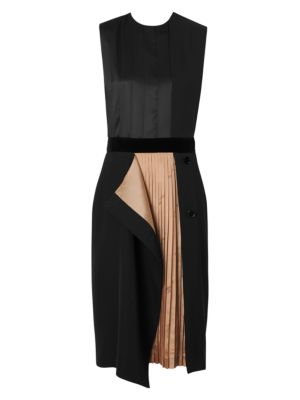 Sleeveless Silk Double Skirt Sheath Dress