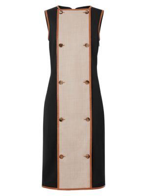 Leather-Trim Stretch Wool Sleeveless Dress