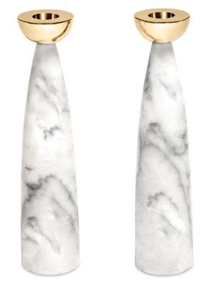 Coluna 2-Piece Carrara Marble & Steel Candlestick Set