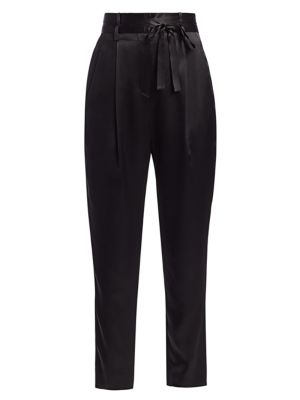 Crop Silk Paperbag Trousers